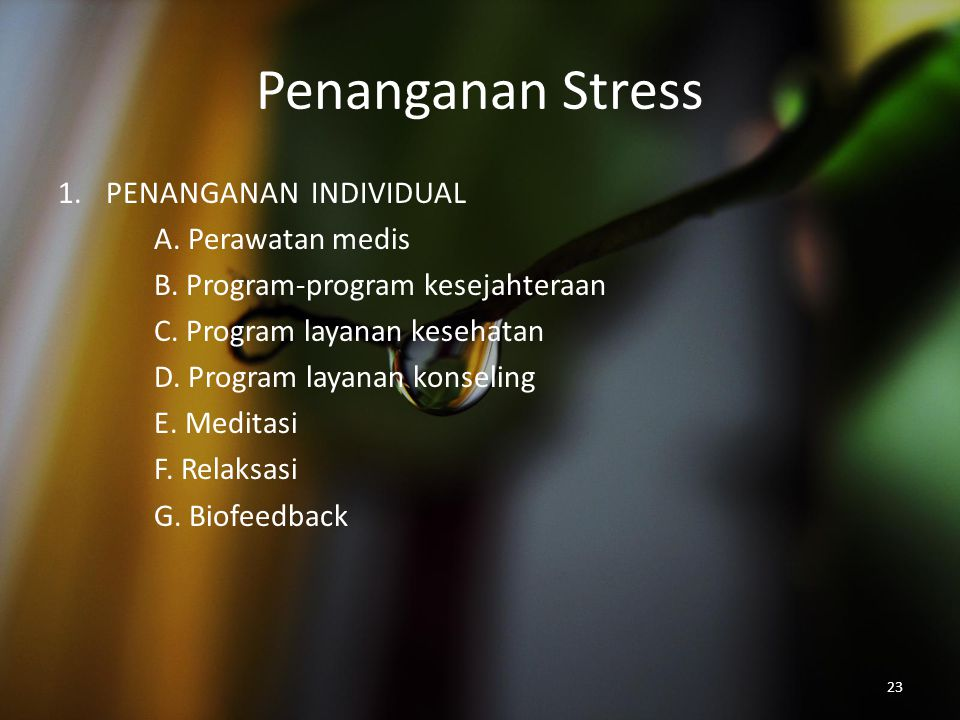 Penanganan Stress PENANGANAN INDIVIDUAL A. Perawatan medis