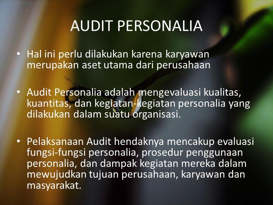 AUDIT PERSONALIA Hal ini perlu dilakukan karena karyawan merupakan aset utama dari perusahaan.