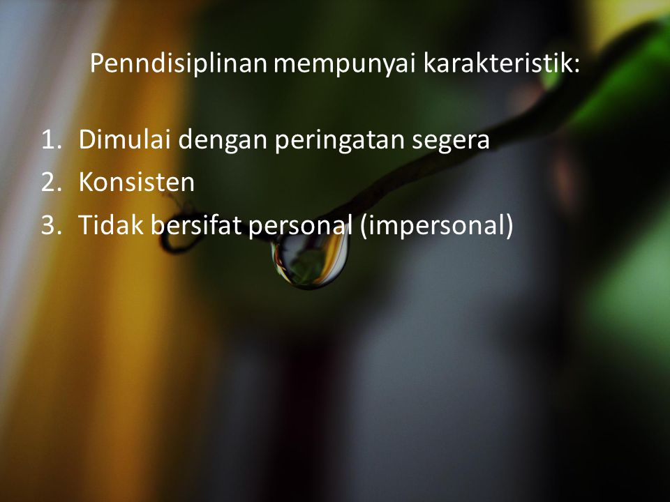 Penndisiplinan mempunyai karakteristik: