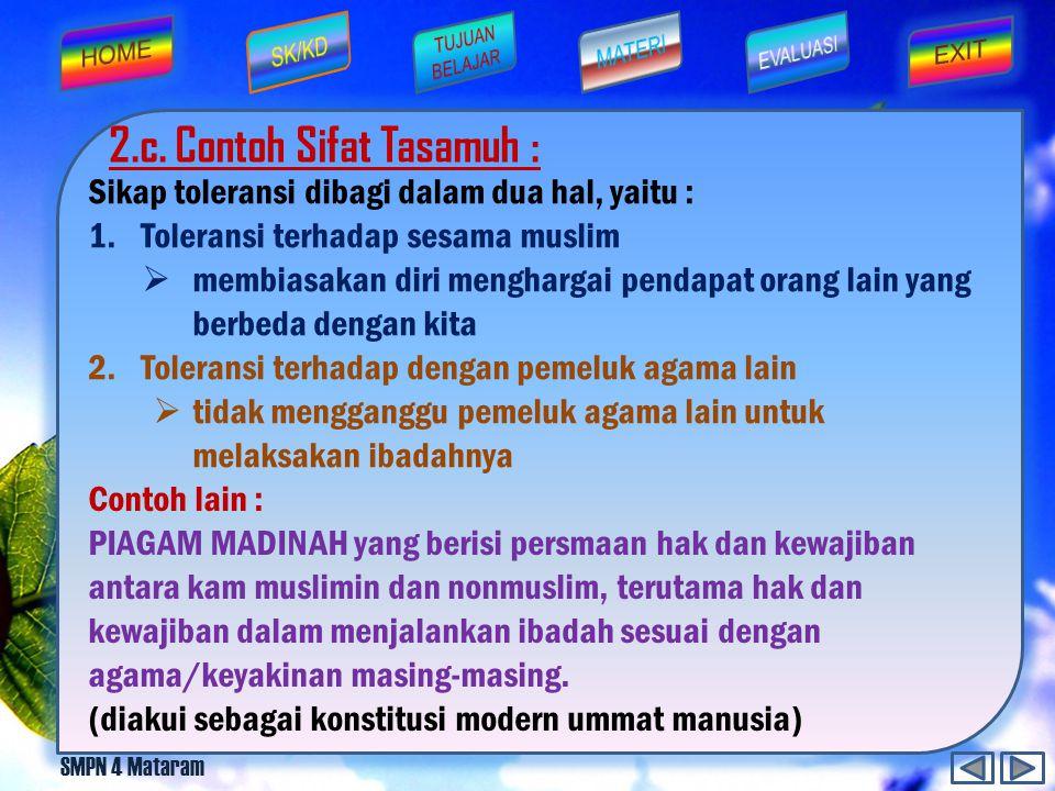 2.c. Contoh Sifat Tasamuh :