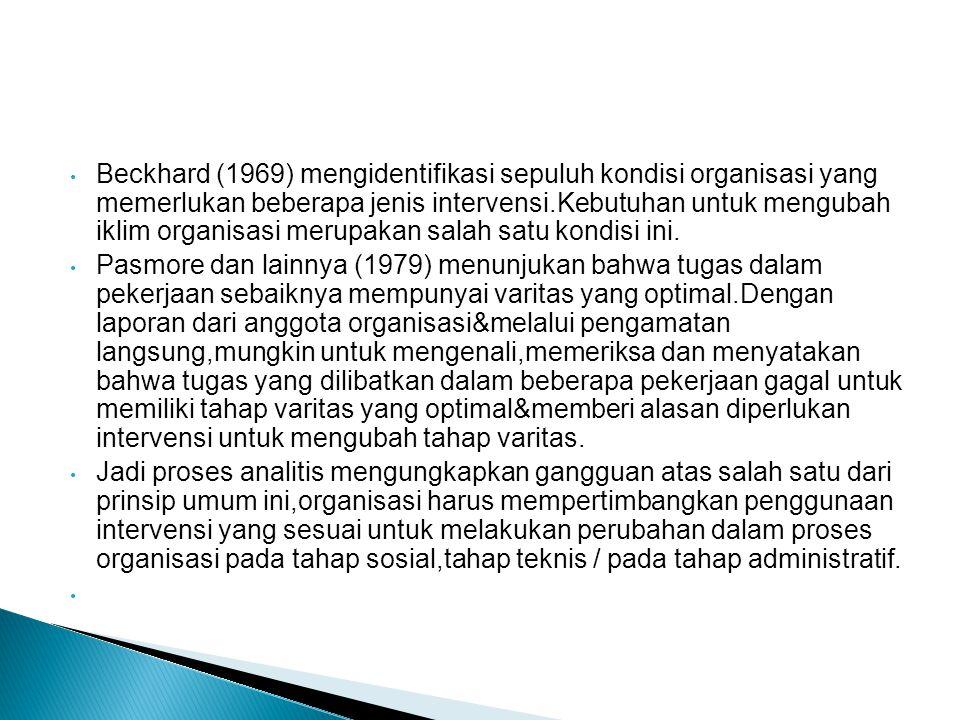 Beckhard (1969) mengidentifikasi sepuluh kondisi organisasi yang memerlukan beberapa jenis intervensi.Kebutuhan untuk mengubah iklim organisasi merupakan salah satu kondisi ini.