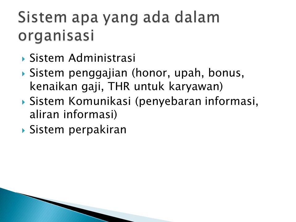 Sistem apa yang ada dalam organisasi