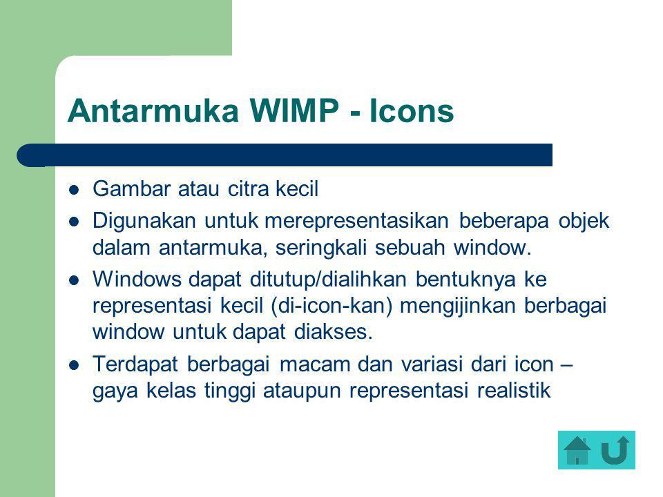 Antarmuka WIMP - Icons Gambar atau citra kecil