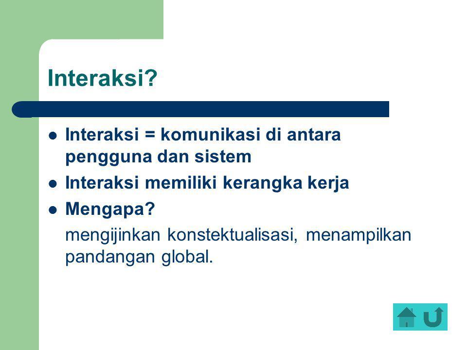 Interaksi Interaksi = komunikasi di antara pengguna dan sistem