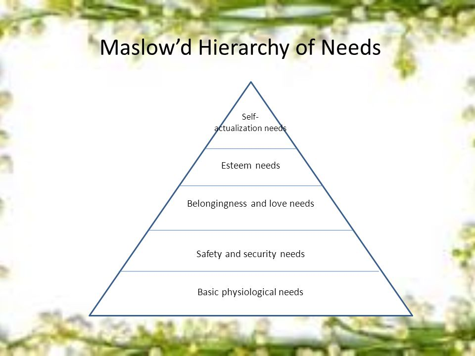 Maslow'd Hierarchy of Needs