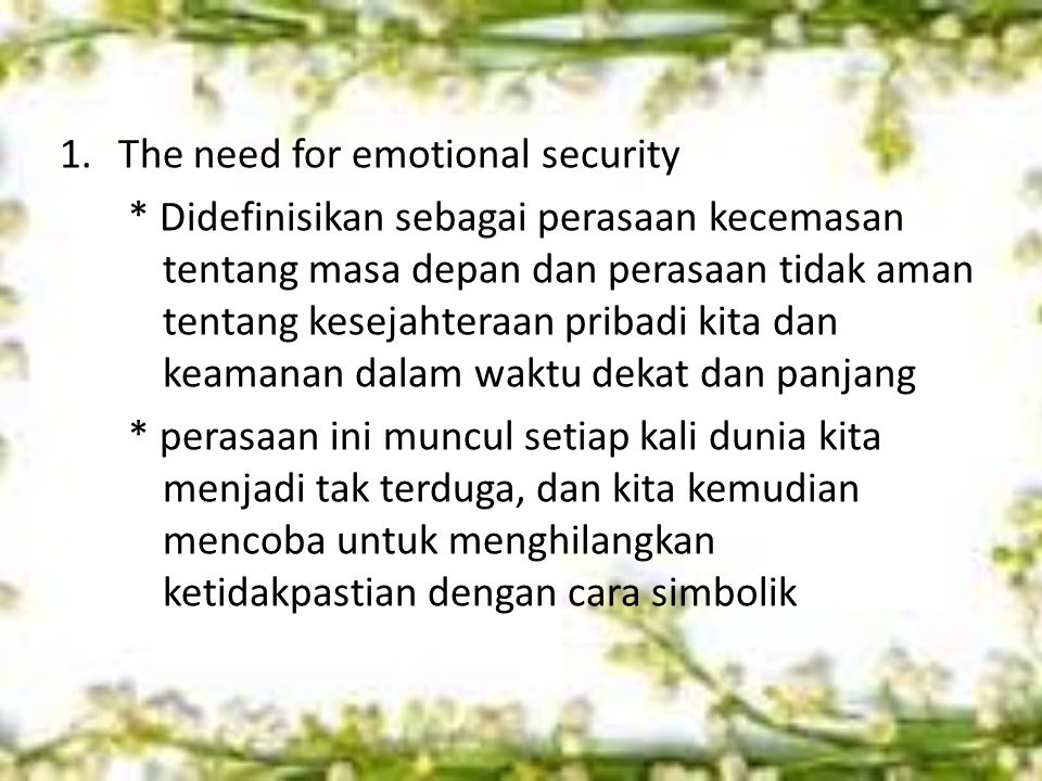 The need for emotional security