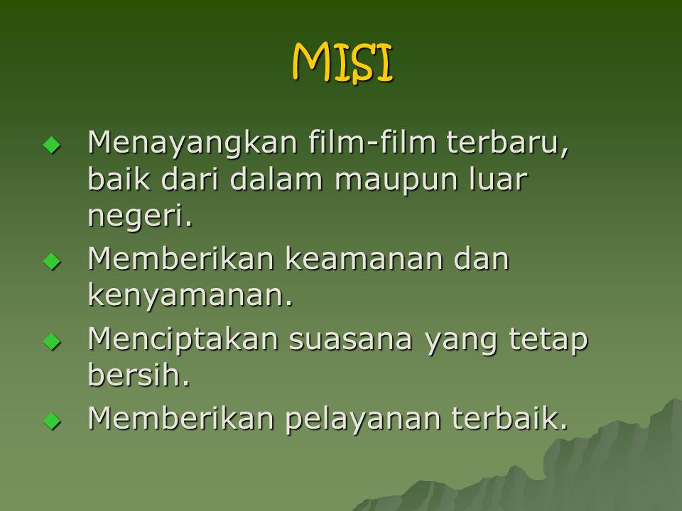 MISI Menayangkan film-film terbaru, baik dari dalam maupun luar negeri. Memberikan keamanan dan kenyamanan.