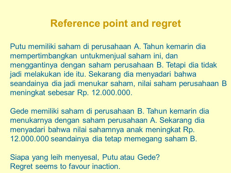 Reference point and regret