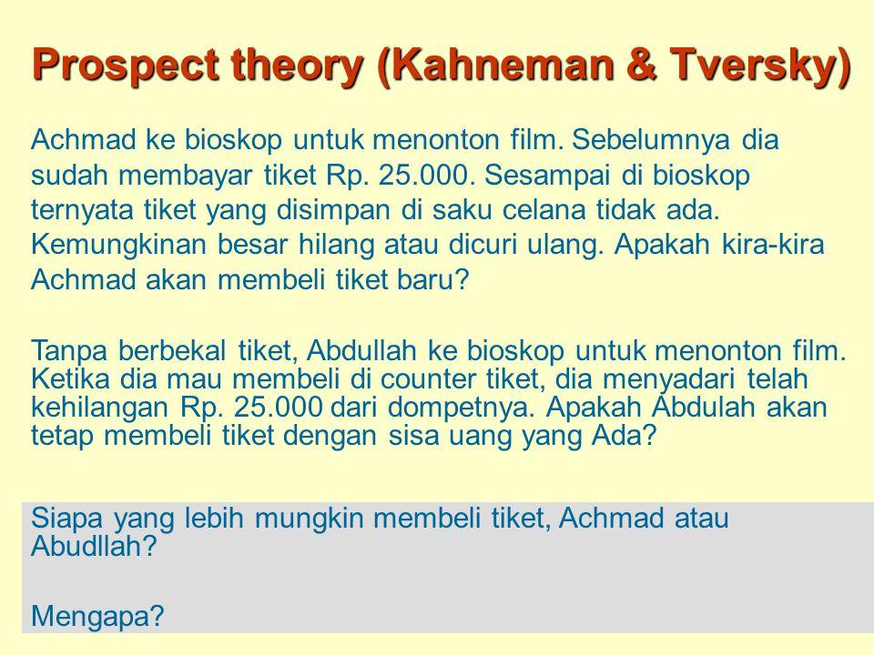 Prospect theory (Kahneman & Tversky)