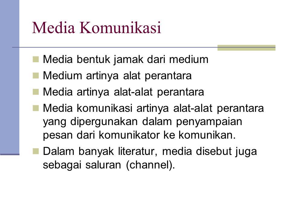 Media Komunikasi Media bentuk jamak dari medium