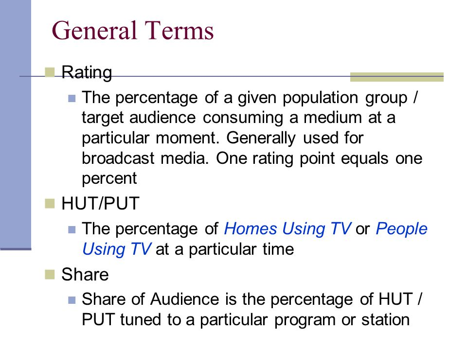 General Terms Rating HUT/PUT Share
