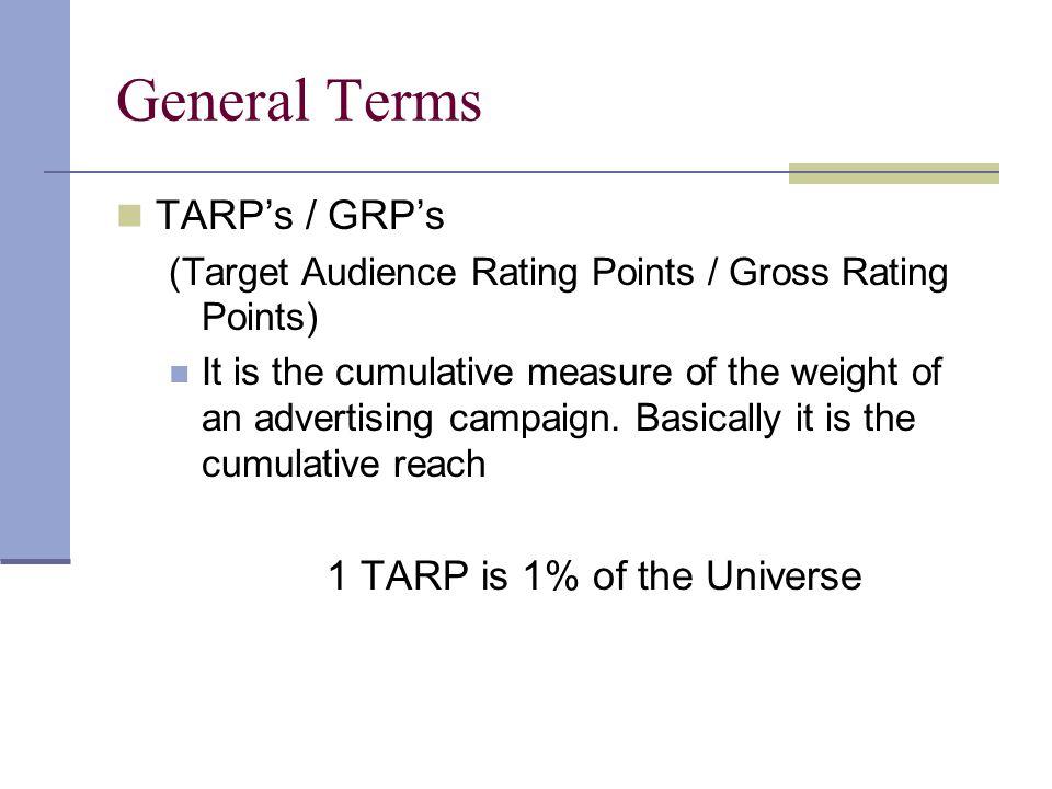 General Terms TARP's / GRP's