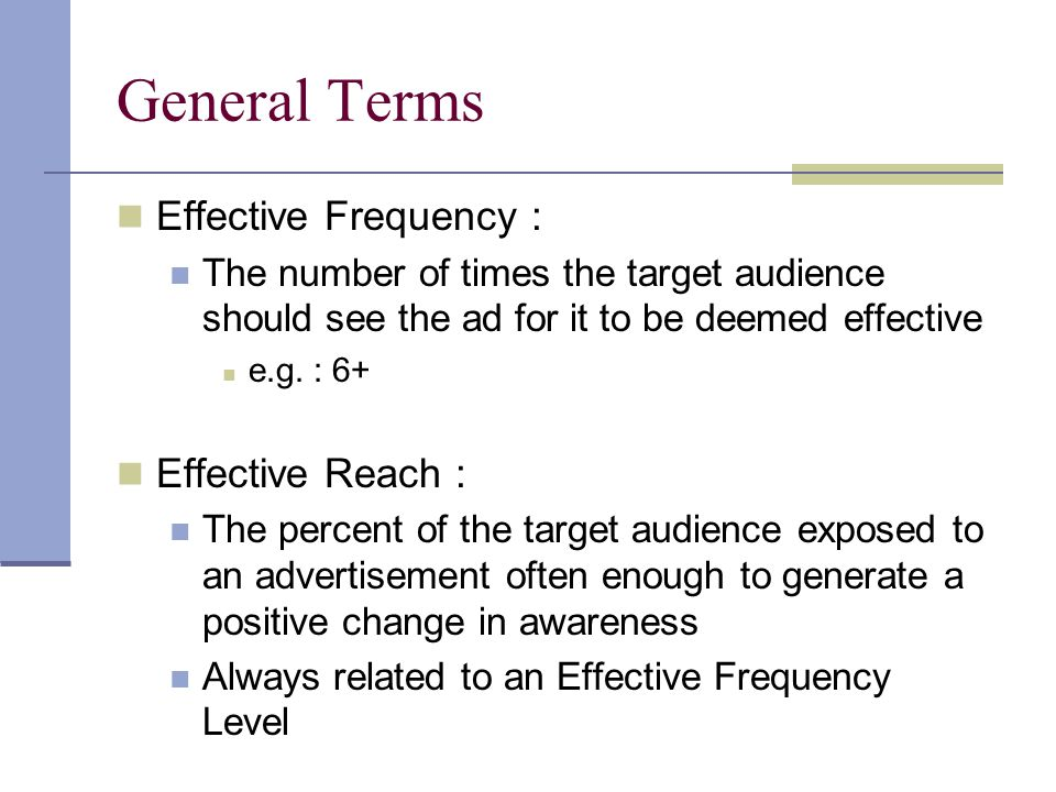 General Terms Effective Frequency : Effective Reach :