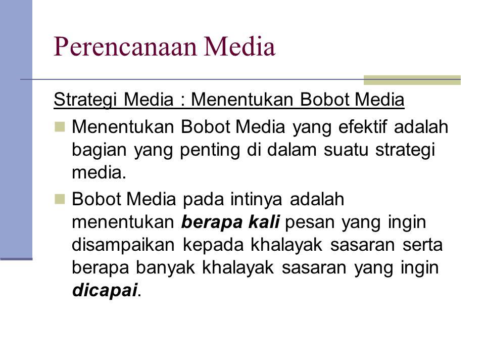 Perencanaan Media Strategi Media : Menentukan Bobot Media
