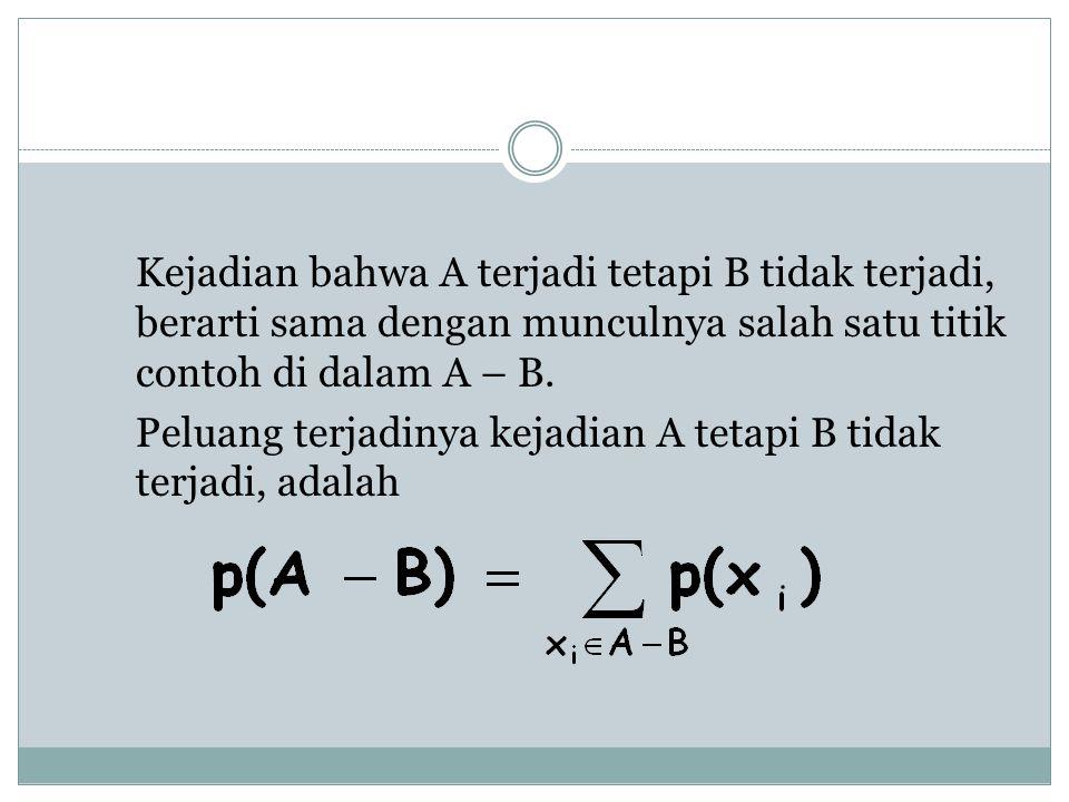 Kejadian bahwa A terjadi tetapi B tidak terjadi, berarti sama dengan munculnya salah satu titik contoh di dalam A – B.