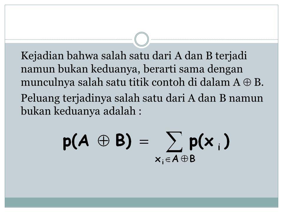 Kejadian bahwa salah satu dari A dan B terjadi namun bukan keduanya, berarti sama dengan munculnya salah satu titik contoh di dalam A  B.