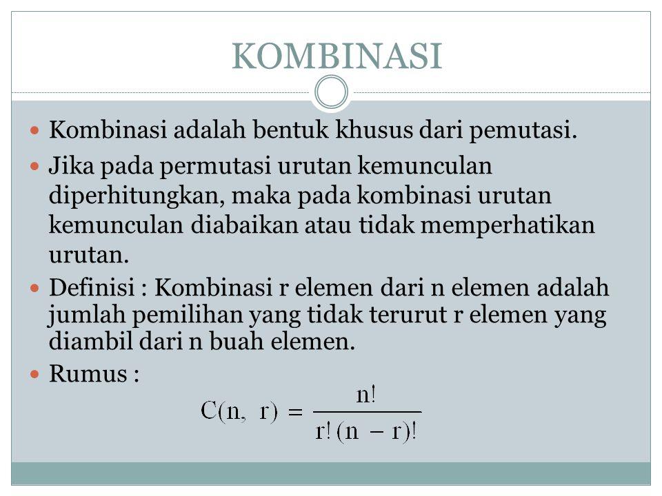 KOMBINASI Kombinasi adalah bentuk khusus dari pemutasi.