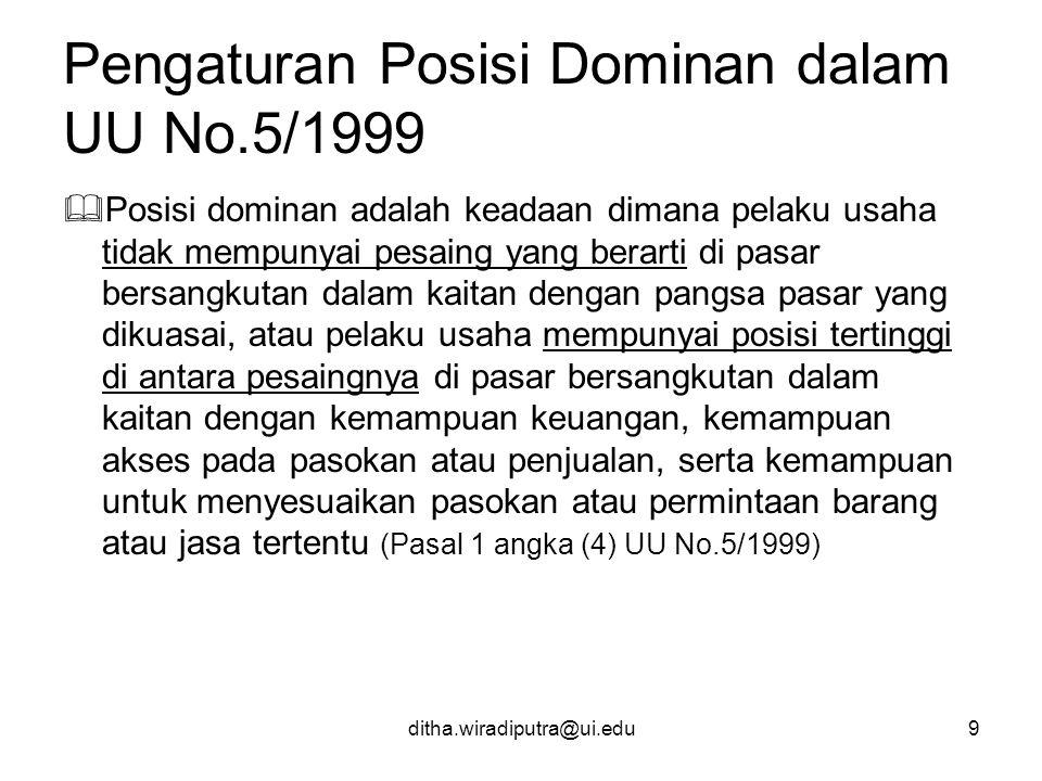 Pengaturan Posisi Dominan dalam UU No.5/1999