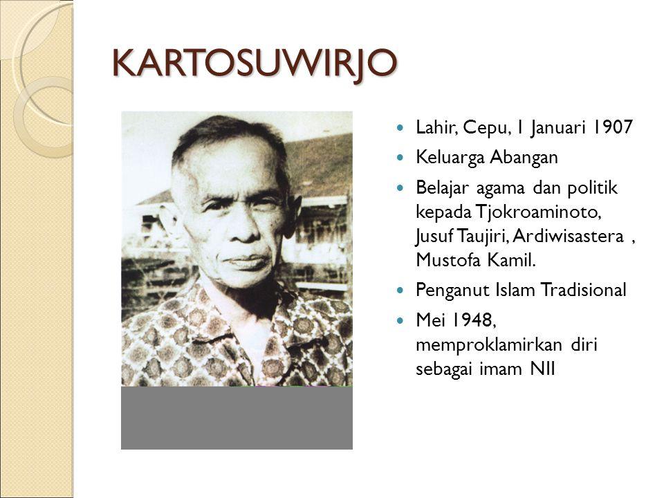 KARTOSUWIRJO Lahir, Cepu, 1 Januari 1907 Keluarga Abangan