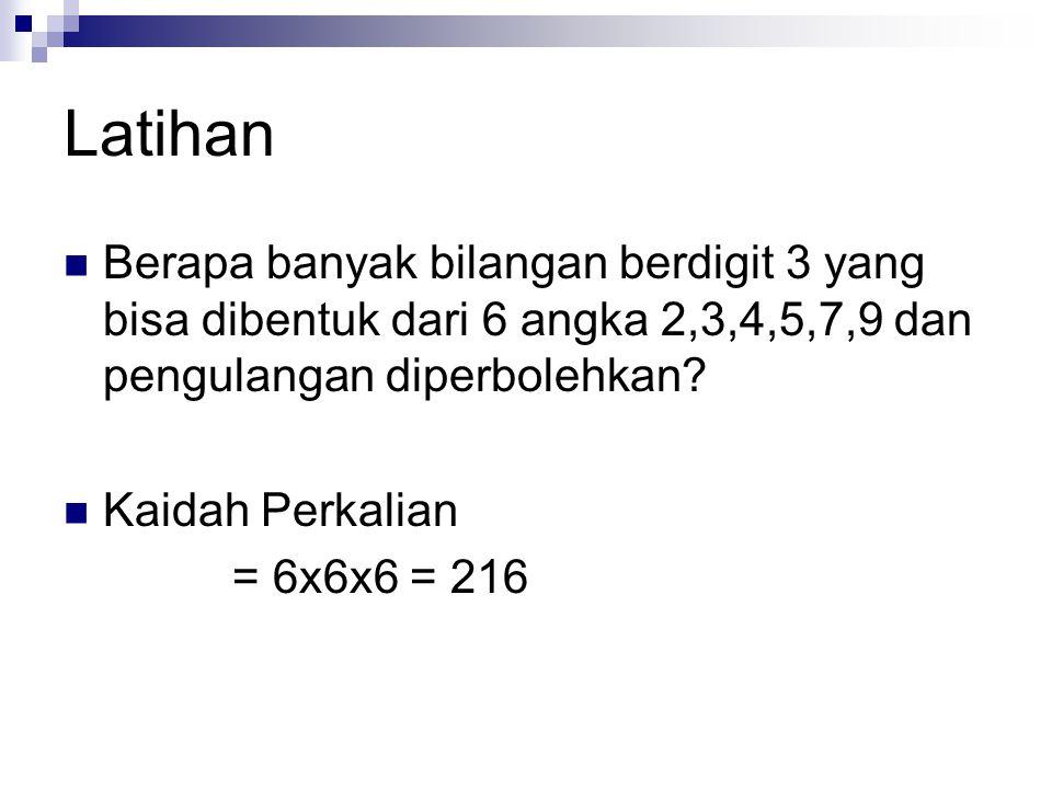Latihan Berapa banyak bilangan berdigit 3 yang bisa dibentuk dari 6 angka 2,3,4,5,7,9 dan pengulangan diperbolehkan