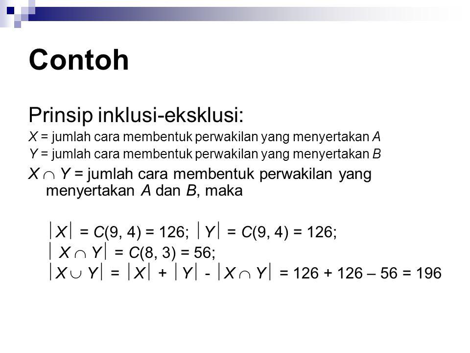 Contoh Prinsip inklusi-eksklusi: