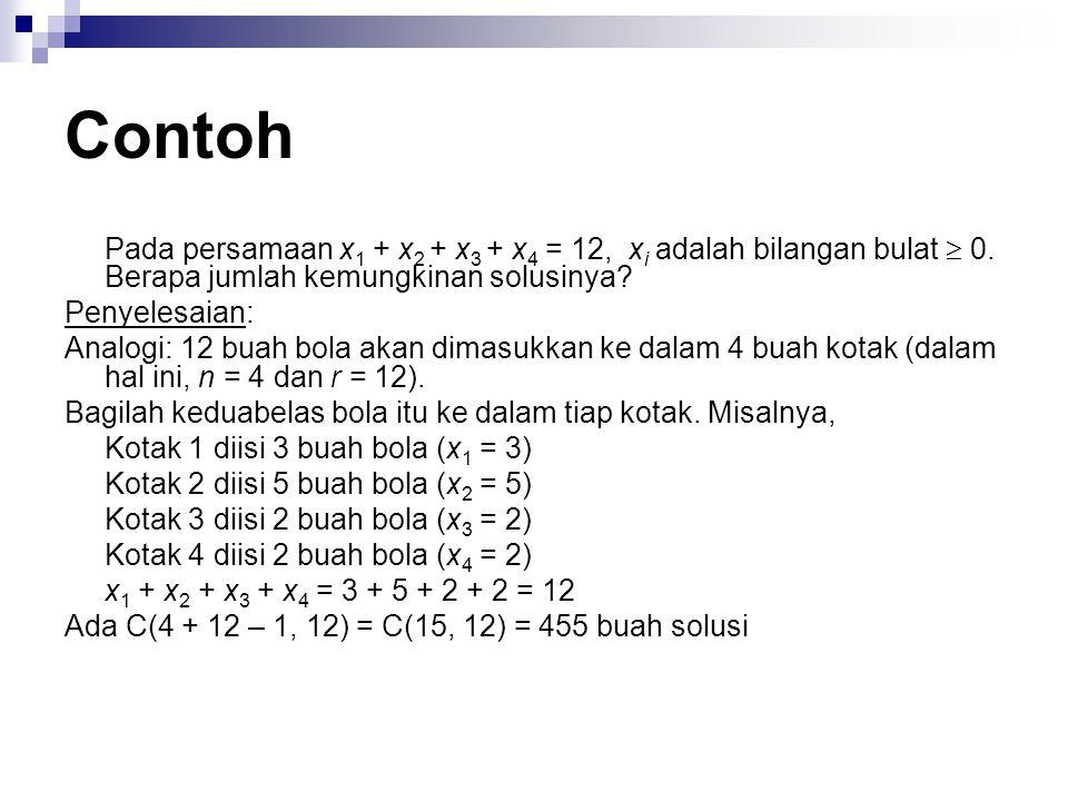 Contoh Pada persamaan x1 + x2 + x3 + x4 = 12, xi adalah bilangan bulat  0. Berapa jumlah kemungkinan solusinya