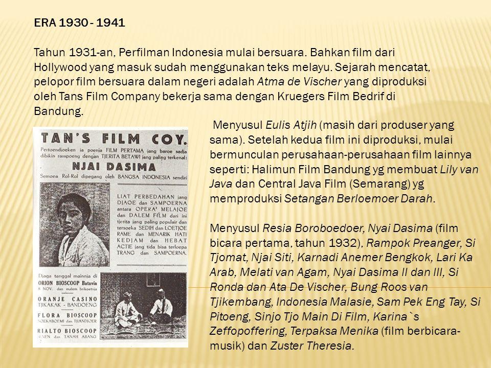 ERA 1930 - 1941 Tahun 1931-an, Perfilman Indonesia mulai bersuara