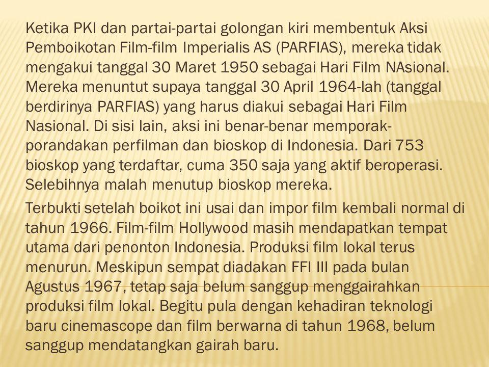 Ketika PKI dan partai-partai golongan kiri membentuk Aksi Pemboikotan Film-film Imperialis AS (PARFIAS), mereka tidak mengakui tanggal 30 Maret 1950 sebagai Hari Film NAsional. Mereka menuntut supaya tanggal 30 April 1964-lah (tanggal berdirinya PARFIAS) yang harus diakui sebagai Hari Film Nasional. Di sisi lain, aksi ini benar-benar memporak-porandakan perfilman dan bioskop di Indonesia. Dari 753 bioskop yang terdaftar, cuma 350 saja yang aktif beroperasi. Selebihnya malah menutup bioskop mereka.