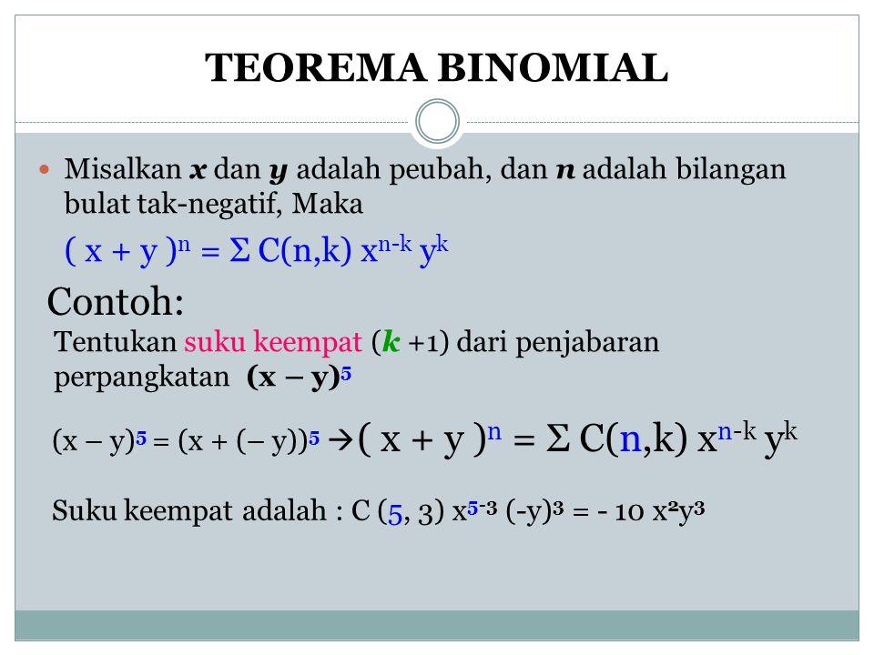 TEOREMA BINOMIAL Contoh: ( x + y )n = Σ C(n,k) xn-k yk