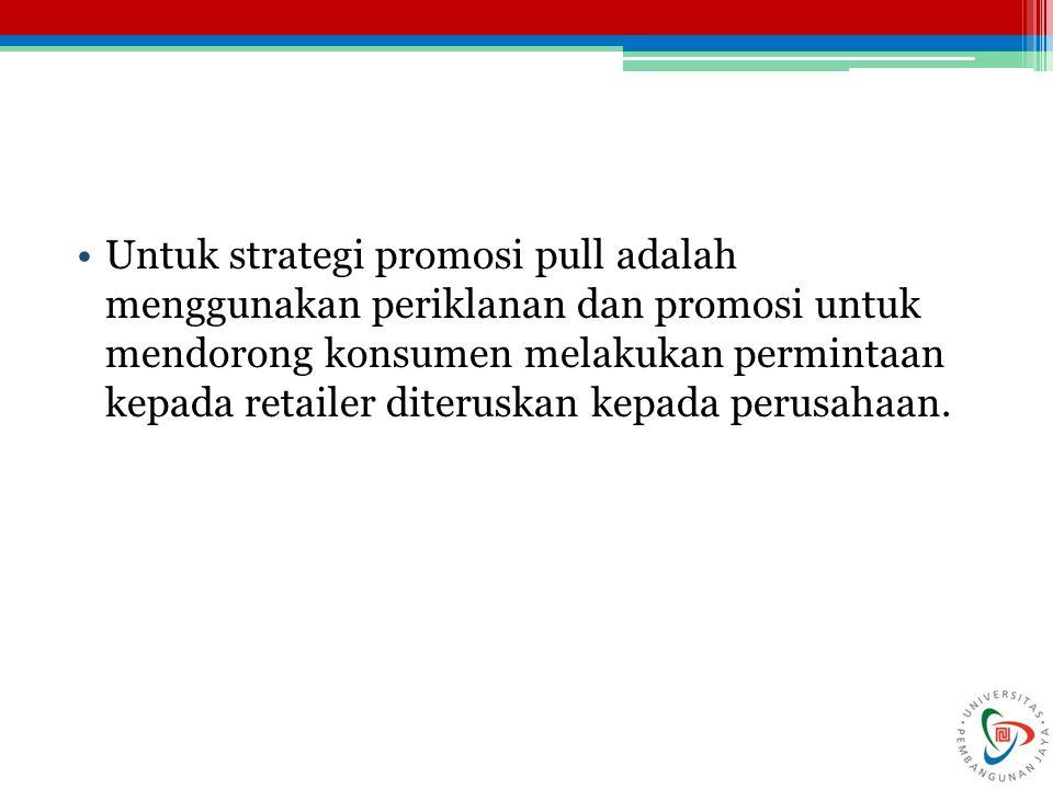 Untuk strategi promosi pull adalah menggunakan periklanan dan promosi untuk mendorong konsumen melakukan permintaan kepada retailer diteruskan kepada perusahaan.