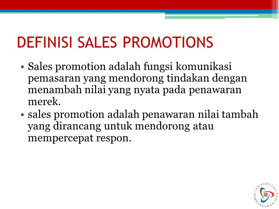 DEFINISI SALES PROMOTIONS