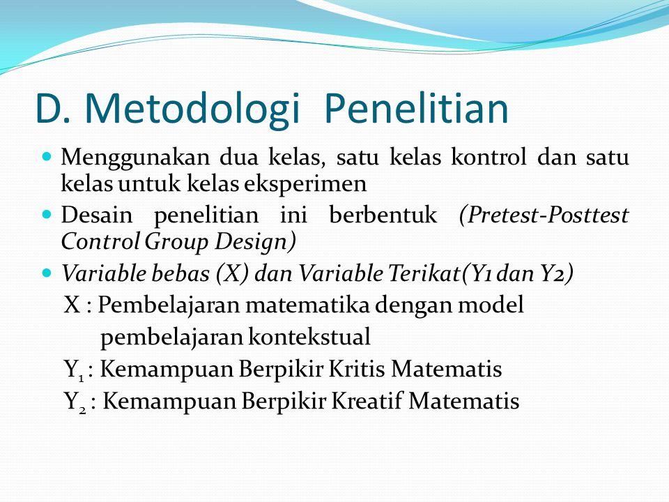 D. Metodologi Penelitian
