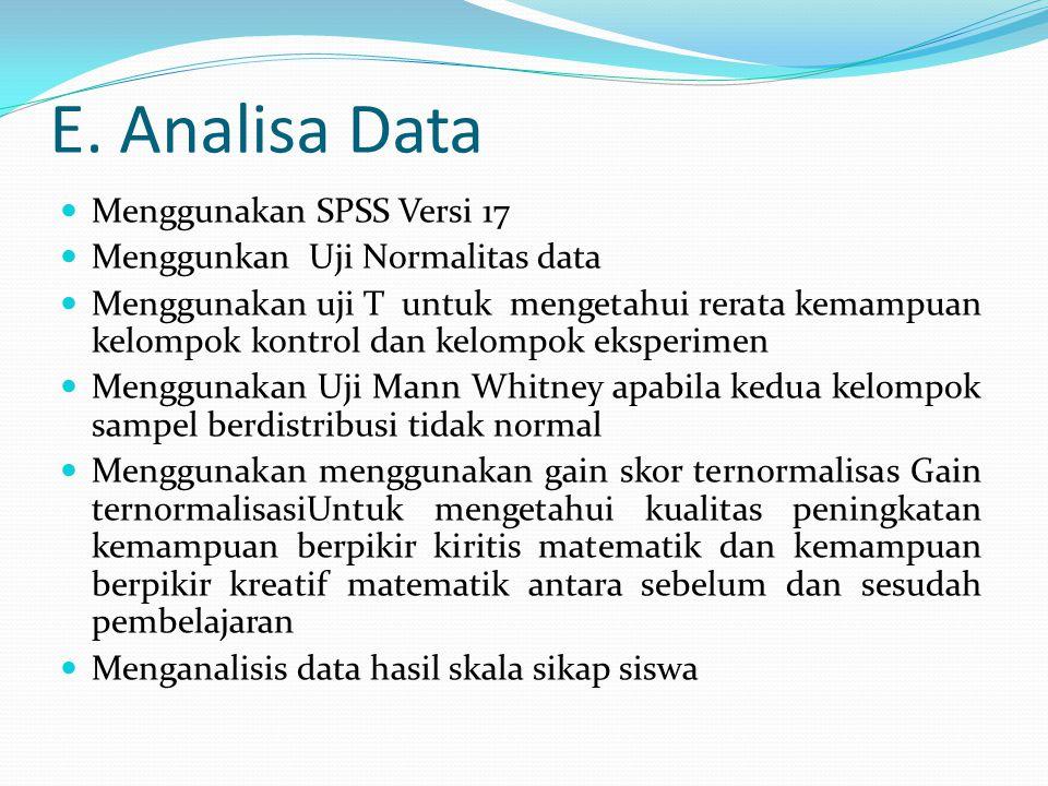 E. Analisa Data Menggunakan SPSS Versi 17