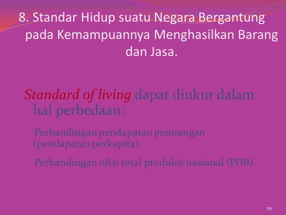 Standard of living dapat diukur dalam hal perbedaan: