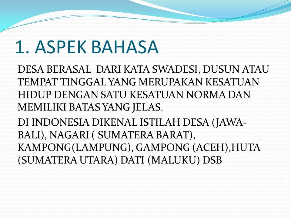 1. ASPEK BAHASA