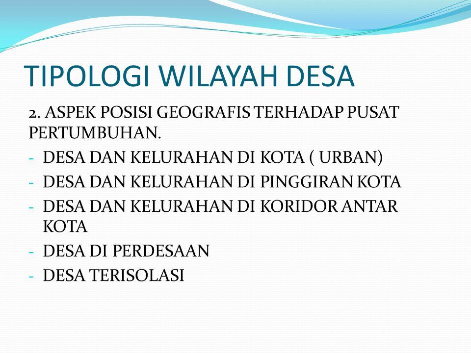 TIPOLOGI WILAYAH DESA 2. ASPEK POSISI GEOGRAFIS TERHADAP PUSAT PERTUMBUHAN. DESA DAN KELURAHAN DI KOTA ( URBAN)
