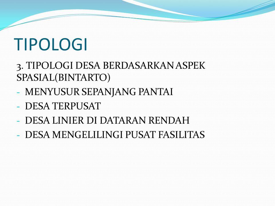 TIPOLOGI 3. TIPOLOGI DESA BERDASARKAN ASPEK SPASIAL(BINTARTO)
