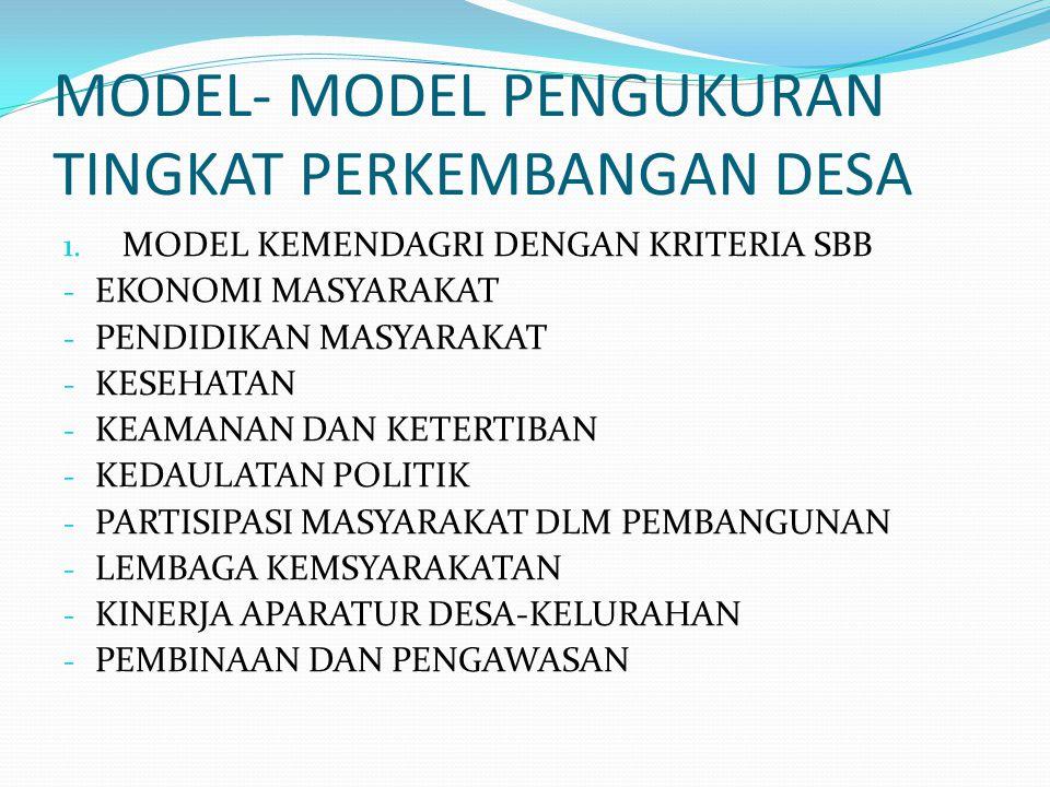 MODEL- MODEL PENGUKURAN TINGKAT PERKEMBANGAN DESA