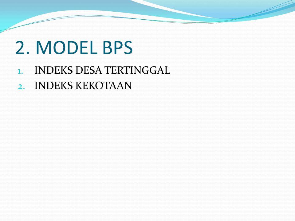 2. MODEL BPS INDEKS DESA TERTINGGAL INDEKS KEKOTAAN