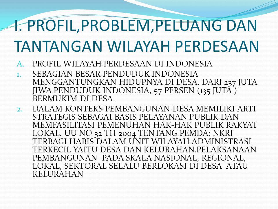I. PROFIL,PROBLEM,PELUANG DAN TANTANGAN WILAYAH PERDESAAN