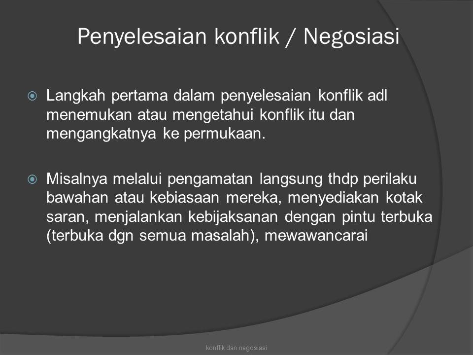 Penyelesaian konflik / Negosiasi
