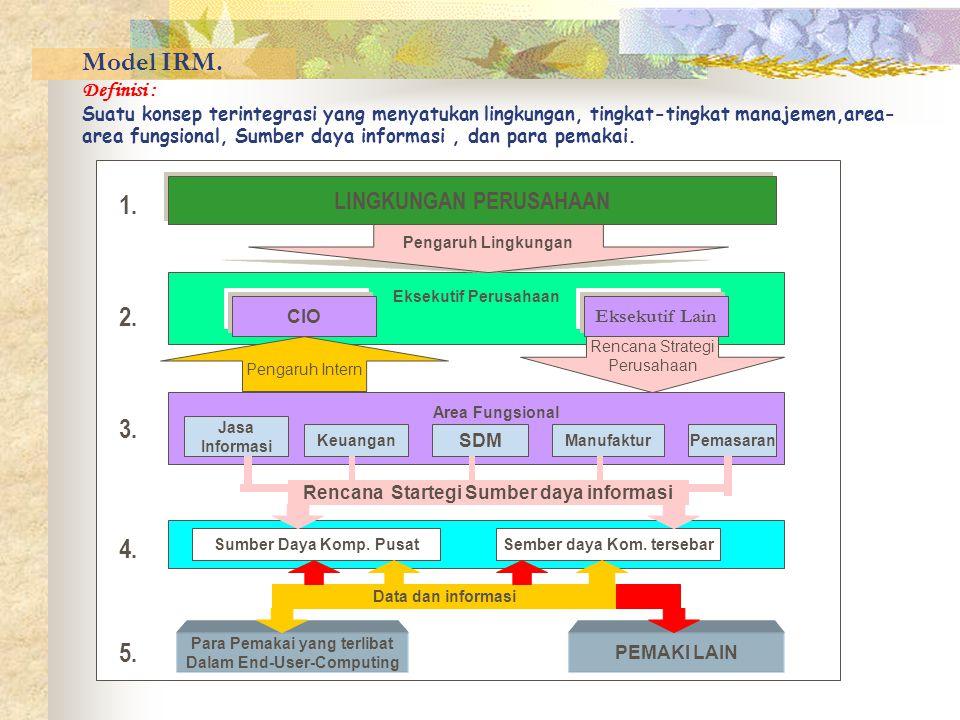 Model IRM. Definisi : Suatu konsep terintegrasi yang menyatukan lingkungan, tingkat-tingkat manajemen,area-area fungsional, Sumber daya informasi , dan para pemakai.