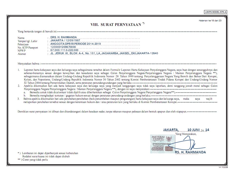 JAKARTA, 10 JUNI 14 DRS. H. RAHMANDA DRS. H. RAHMANDA JAKARTA