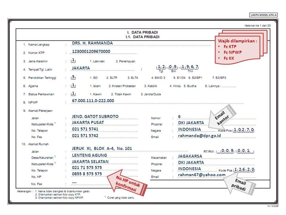 Wajib dilampirkan : Fc KTP. Fc NPWP. Fc KK. DRS. H. RAHMANDA. 1230001209670000. 1. JAKARTA. 1 2 0 9 1 9 6 7.