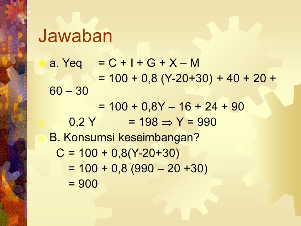 Jawaban a. Yeq = C + I + G + X – M