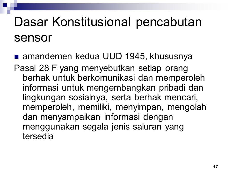 Dasar Konstitusional pencabutan sensor
