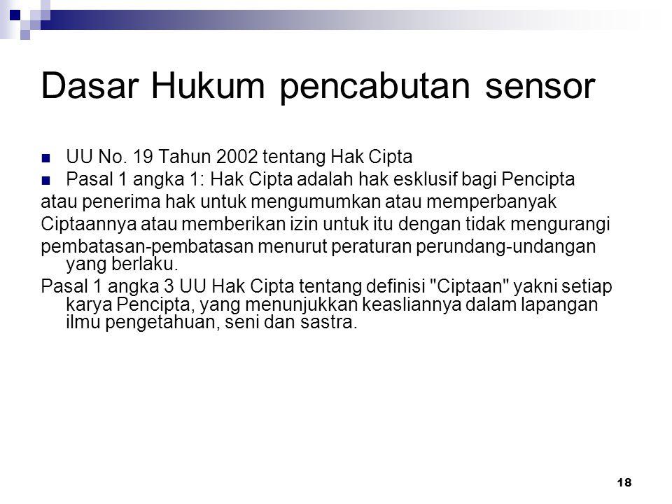 Dasar Hukum pencabutan sensor