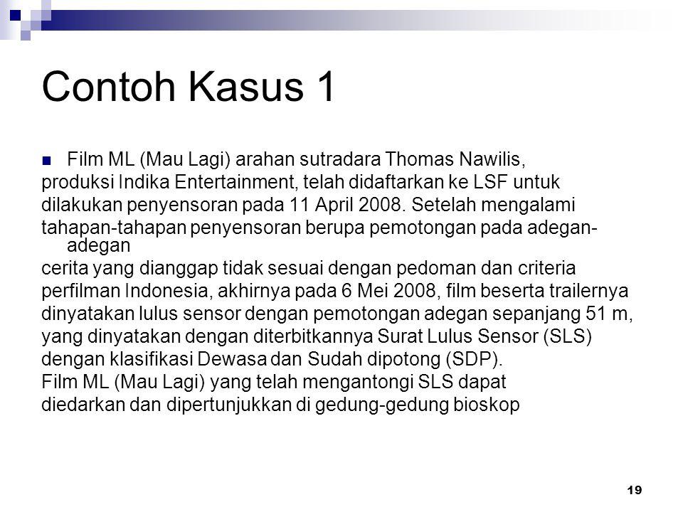 Contoh Kasus 1 Film ML (Mau Lagi) arahan sutradara Thomas Nawilis,