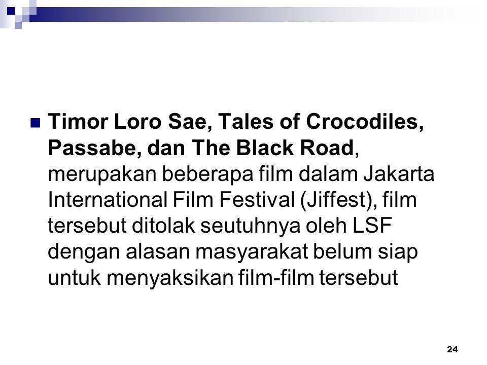Timor Loro Sae, Tales of Crocodiles, Passabe, dan The Black Road, merupakan beberapa film dalam Jakarta International Film Festival (Jiffest), film tersebut ditolak seutuhnya oleh LSF dengan alasan masyarakat belum siap untuk menyaksikan film-film tersebut