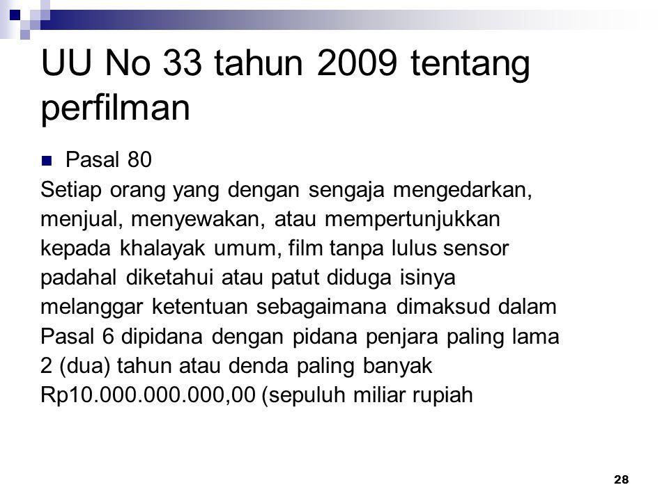 UU No 33 tahun 2009 tentang perfilman